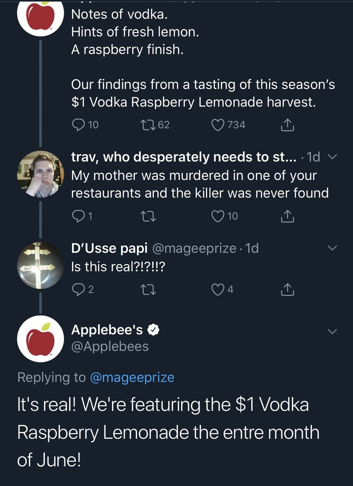 $1 vodka murder mystery. to be honest, i'd rather be murdered than have to go into an applebees.