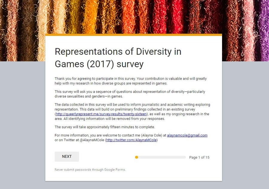 A neat survey. Don't you have a minute to discuss diversity in games? It isn't the most cancerous thing ever, but it's good for a kek/understanding the priorite