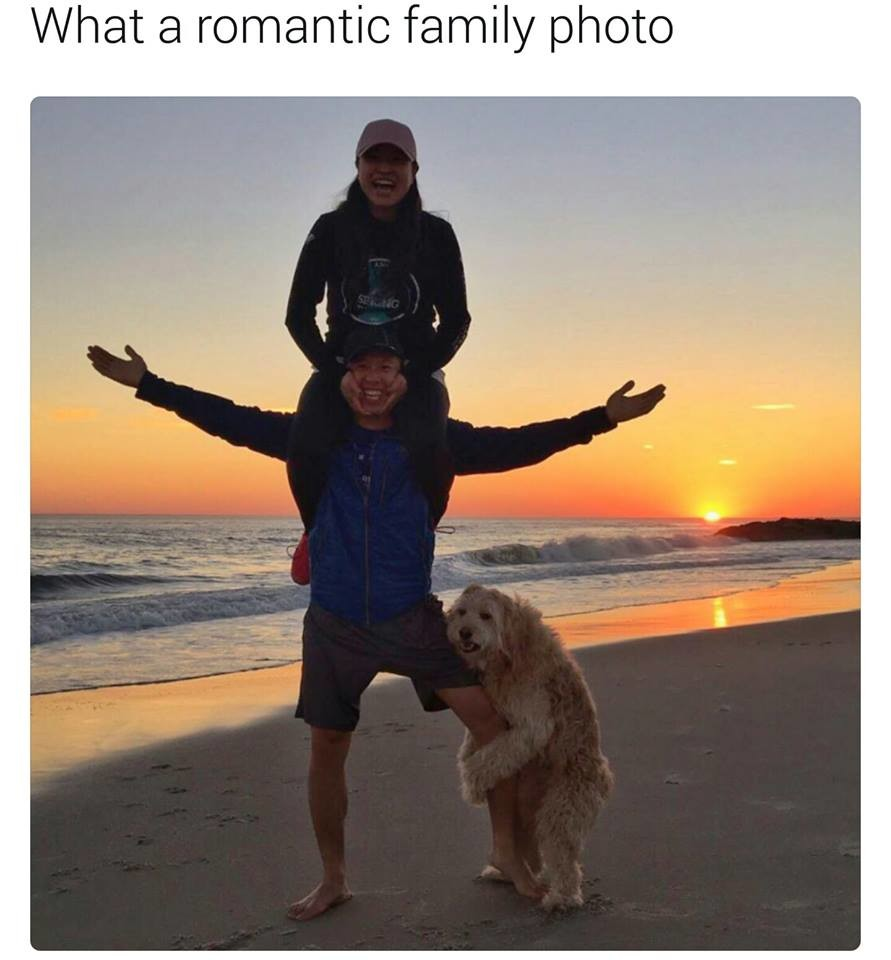 A perfect family. . What [it' romantic family photo. That's a really up baby