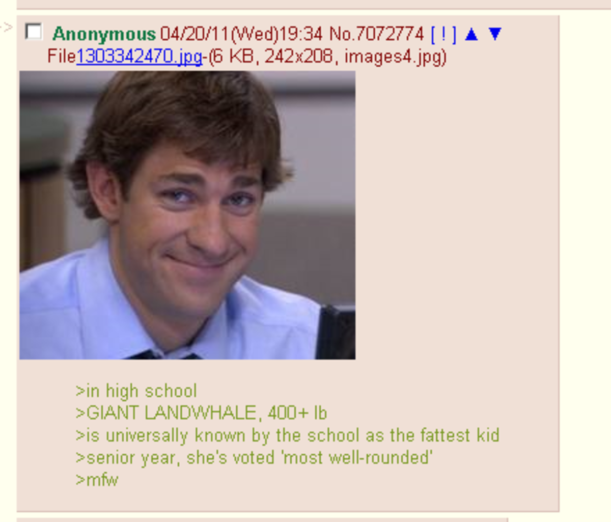 agonizing flippant Mongoose. join list: DailyGreentext (270 subs)Mention Clicks: 7376Msgs Sent: 23168Mention History.. I remember this girl back in highschool who had all her fat down in her thighs and stomach, there was no fat anywhere else. her lower body looked like a disk, a