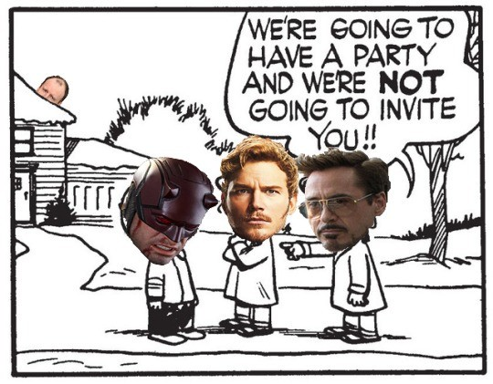 """""""Assemble"""" Doesn't Mean Everyone. Poor little blind boy.. was GOINGTO , HAVE A PARTY g AND WE' RE NOT Coal. Should've starlord on some uninhabited planet and they'd have been fine."""