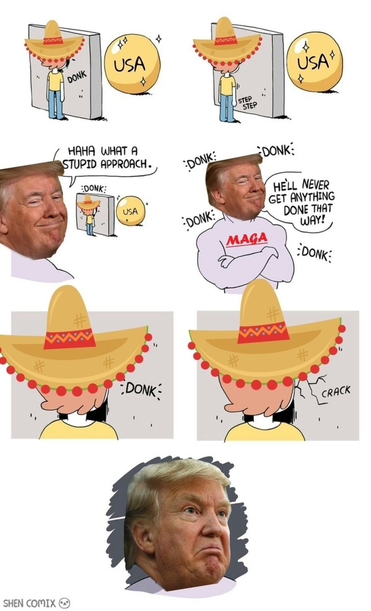 Build the wall MAGA. Dank Donald Trump memes. SHEN COMM (i?). steps around wall
