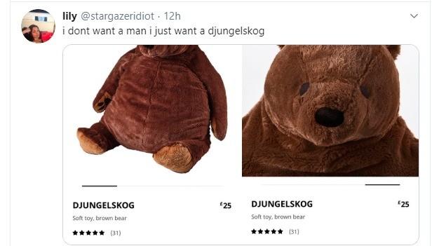 "djungelskog. .. probably dutch for ""jungle bear"" or something. edit: swedish. I was close.Comment edited at ."