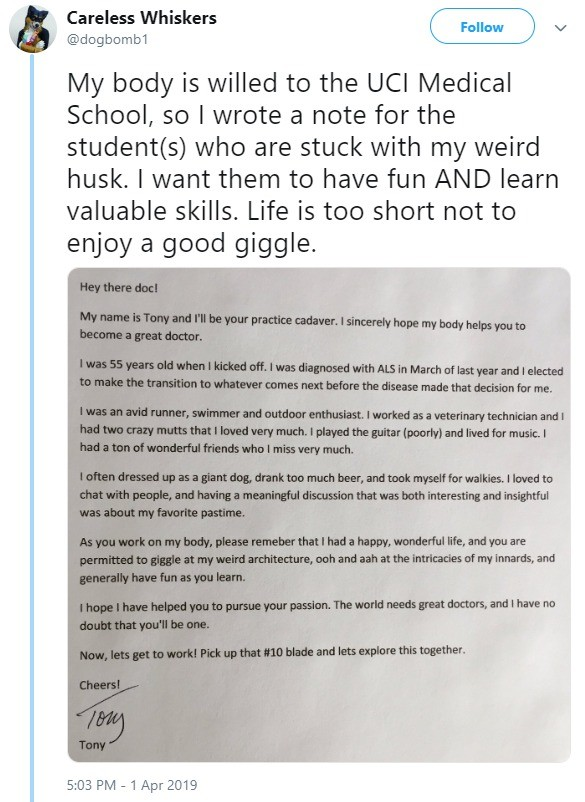 end with a bang. guy chooses to end life on his terms and make people laugh in the process.. On one hand, he's a furry. On the other hand, that's making the best of the hand he was dealt.