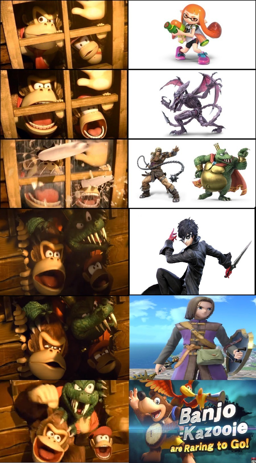Everyones literal reaction. .. first off, i love how DK and Diddy are just letting King K Rool crash at their place, and second, i love how excited the three of them are when Banjo and Kazooi