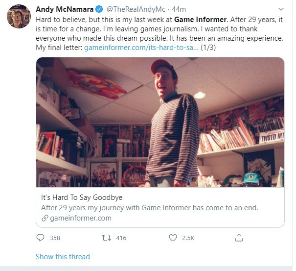 Game informers boss leaves company. .