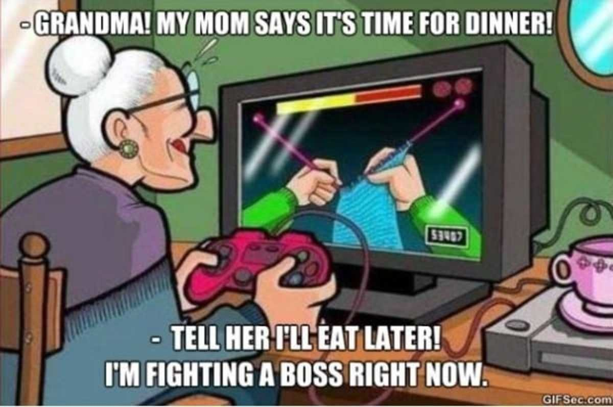 Gamer Granny. Reminds me of a documentary or news segment I saw over a decade ago about this little old granny who was a hardcore gamer. She would stay up all n