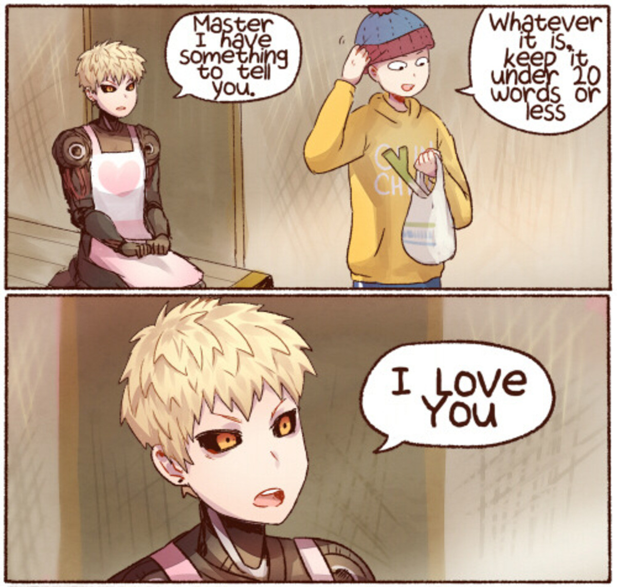 Genos only has eyes for his master. .. I, too, would like to eat Nabe