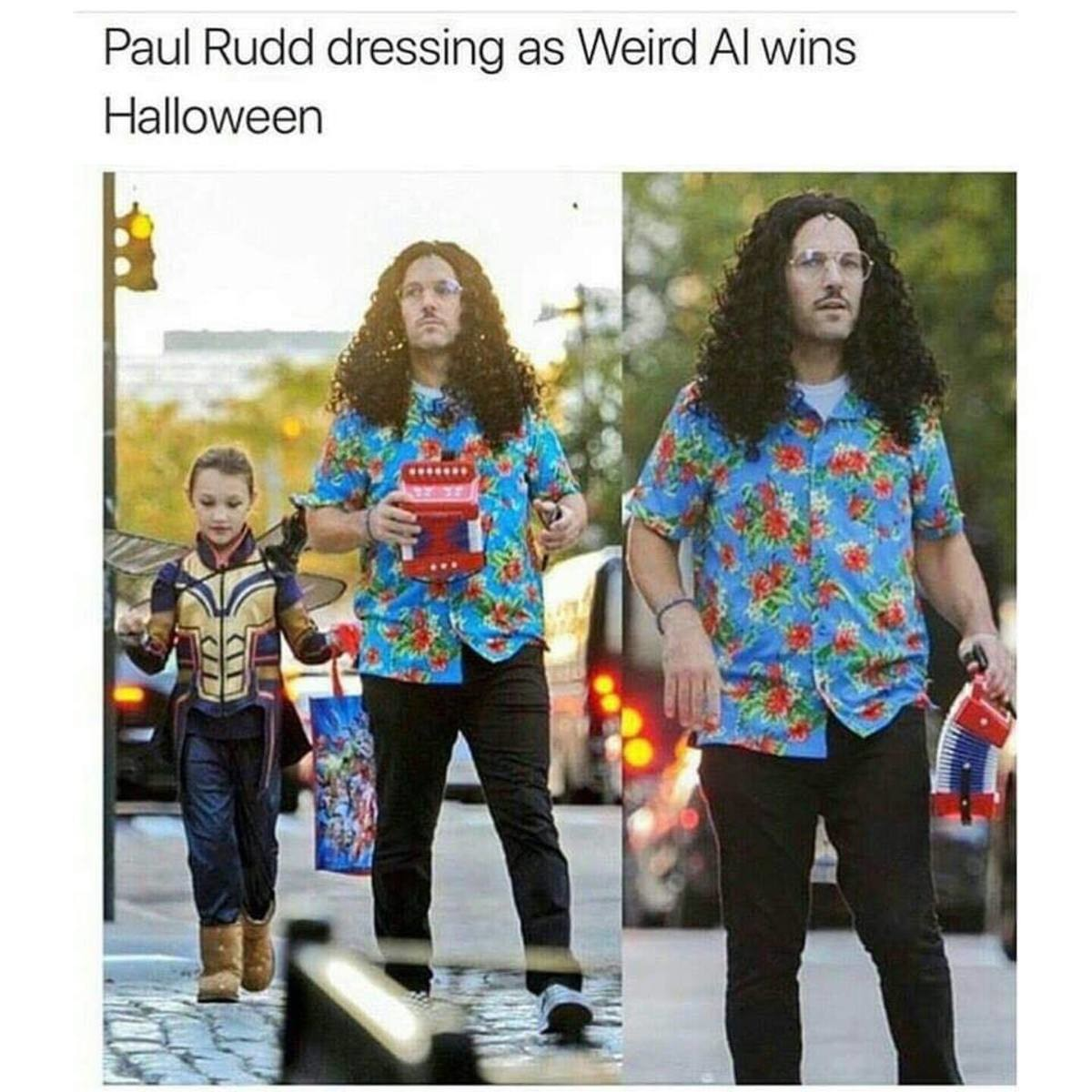 Howdy Al. .. Paul Rudds daughter dressed as Wasp which is obviously close enough to Ant-Man. Then there's Chris Pratt's kid...