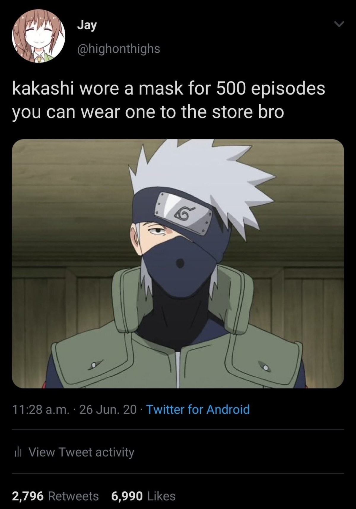 maaskashi. .. If I can spend an entire day with a 15cm buttplug up my ass you all can wear a mask for 1 hour.