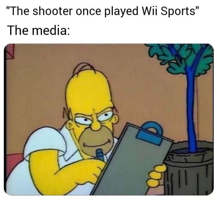 media. .. When was the last time the media put the blame on video games for causing a shooting incident?