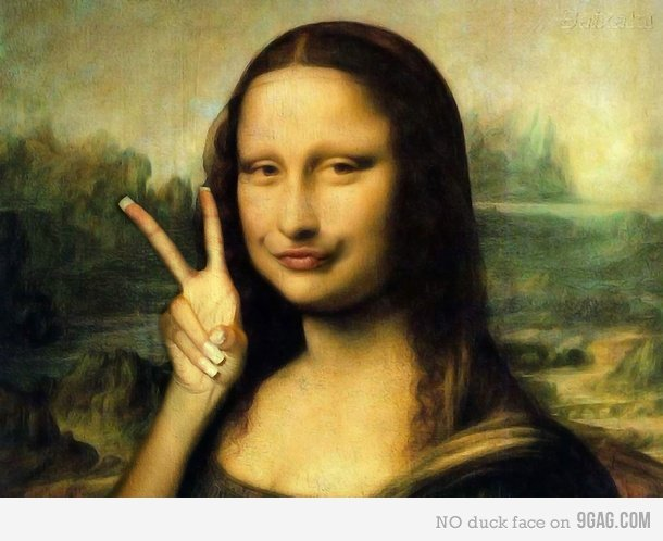 Modern Mona Lisa. If she was painted in 2011... Edit: Wow thanks guys this is my first front page in long time... fixed