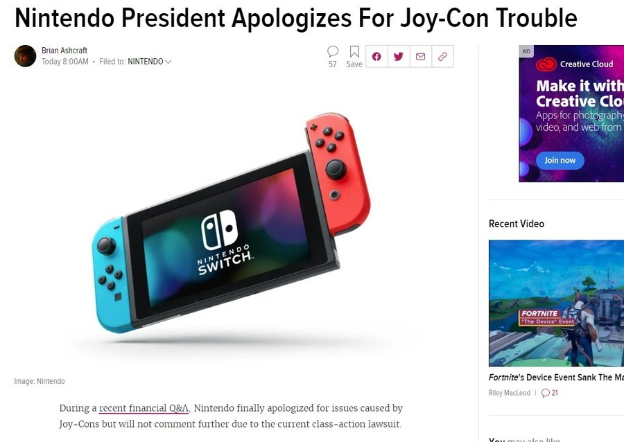 Nintendo Apologizes for Joy Con issues. .. Use archived links. giving them the revenue. https://archive.vn/6KSlb