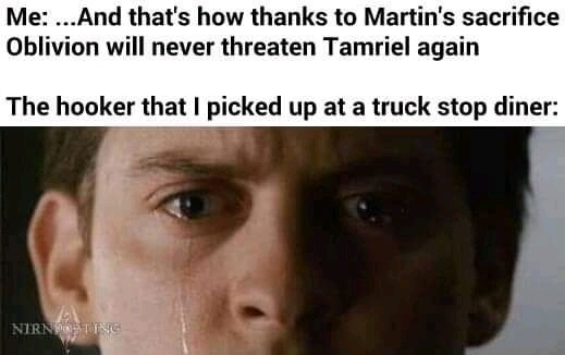 Oblivion. .. And that's how(comma)thanks to Martin's sacrifice(comma) Oblivion will never be a threat to Tamriel again(period)