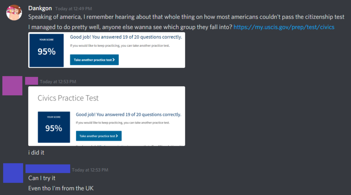 Stupid discord . Try it out yourself .. no but really those questions are stupid easy