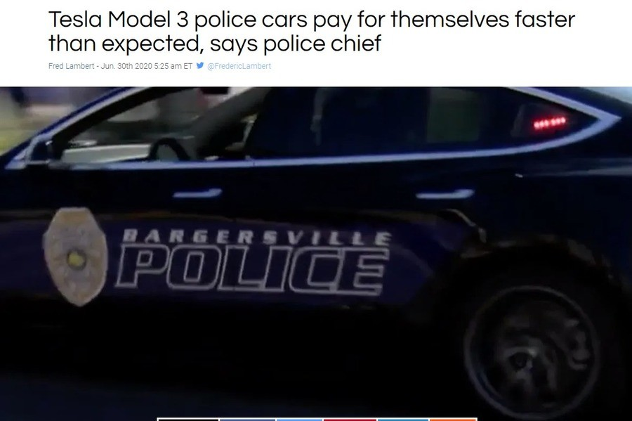 """Tesla Cop Cars """"paying for themselves"""". .. Imagine those instant torks ramming the out of a suspect vehicle. Now this is a proper electric service vehicle, not some Prius or a Smart Fortwo."""