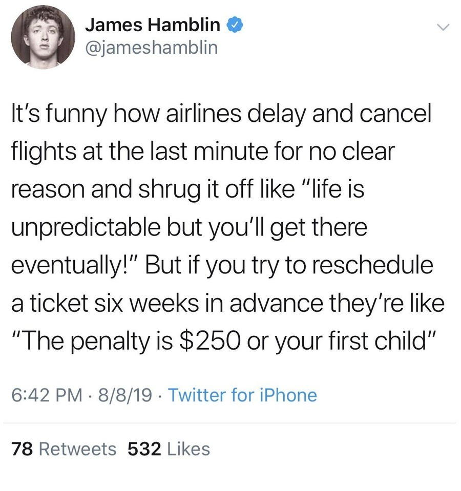 """The Penalty"". .. Canada got themselves an ""Air traveller bill of rights"" for this exact reason. You can sue them for 1-2K if your flight's late without properexplainat"