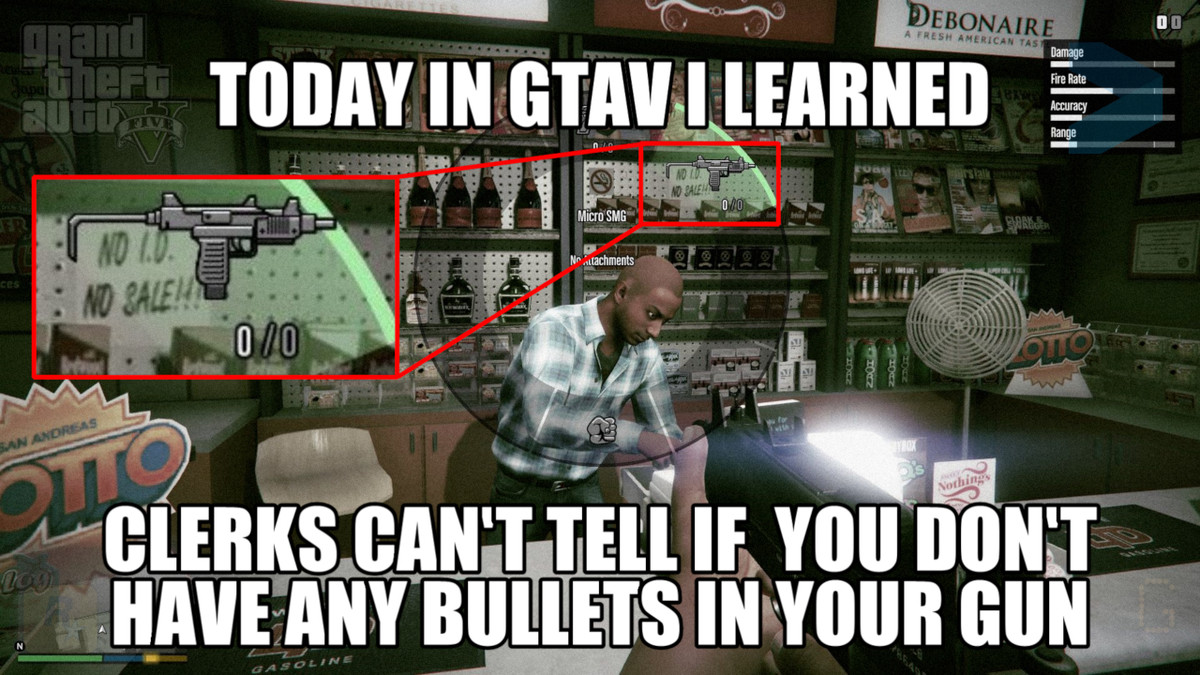 Today in GTAV I learned it's ok if you don't have bullets. Although some might have already known this, getting back into playing some good'ol GTAV just today,