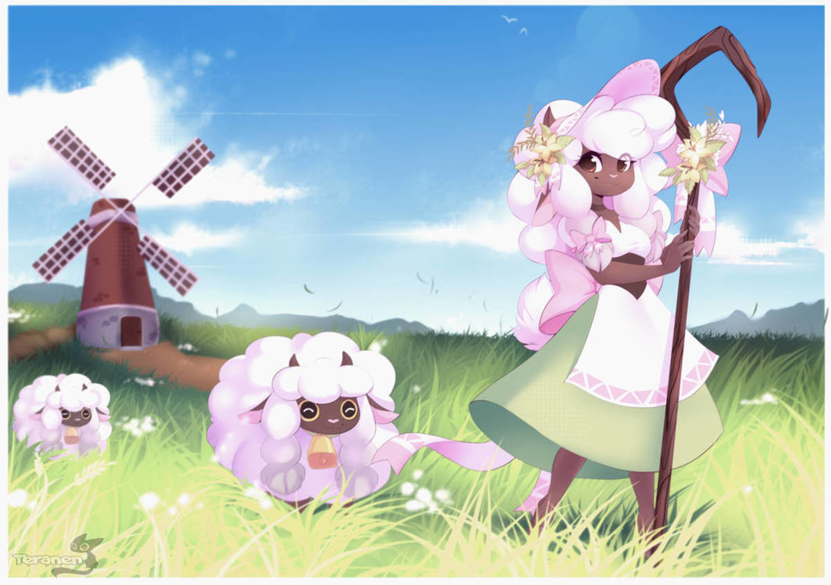 Wooloo Shepardess. That fine line between furry and monster girl. But it's cute, so it. give it consensual cuddles. Artist: .. if someone made a daily wooloo thing I'd follow the out of that