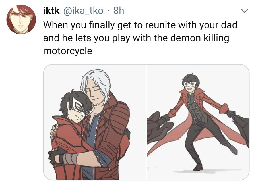You've heard of Bayo-mom. But consider Dad-Dante join list: PersonaPosts (416 subs)Mention History.. Well they'd have to explain how Bayo's black hair wins over Dante's white even tho Nero's got white hair too